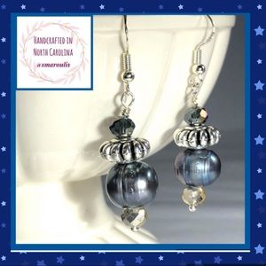 🇺🇸Sterling Silver Earrings Baroque Grey Pearl